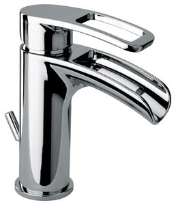 """Picture of   10211 WFS Single hole lavatory faucet with waterfall spout and 1 1/4"""" pop up waste"""
